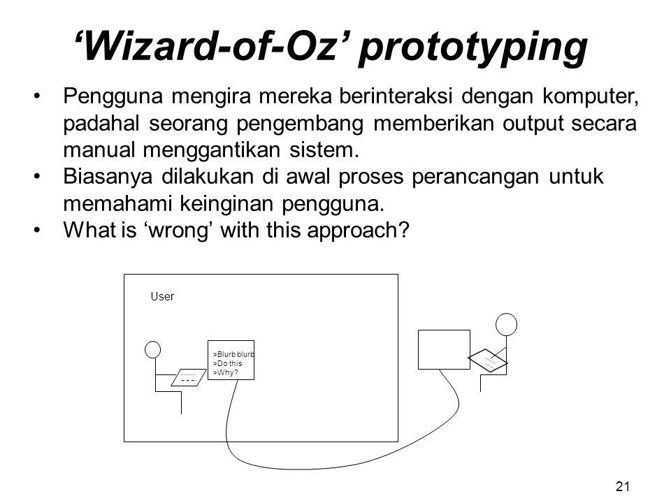 'Wizard-of-Oz' prototyping Pengguna mengira mereka berinteraksi dengan komputer, padahal seorang pengembang memberikan output secara manual menggantik
