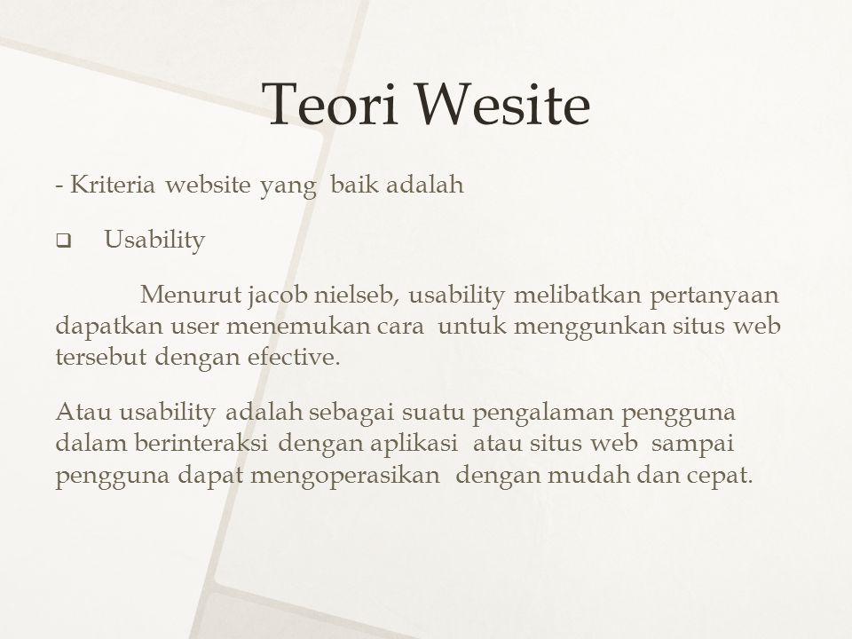 Teori Wesite - Kriteria website yang baik adalah  Usability Menurut jacob nielseb, usability melibatkan pertanyaan dapatkan user menemukan cara untuk