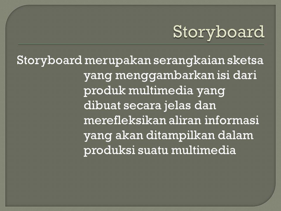 Storyboard merupakan serangkaian sketsa yang menggambarkan isi dari produk multimedia yang dibuat secara jelas dan merefleksikan aliran informasi yang akan ditampilkan dalam produksi suatu multimedia
