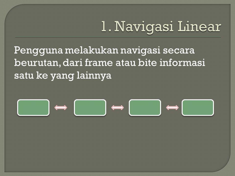 Pengguna melakukan navigasi secara beurutan, dari frame atau bite informasi satu ke yang lainnya