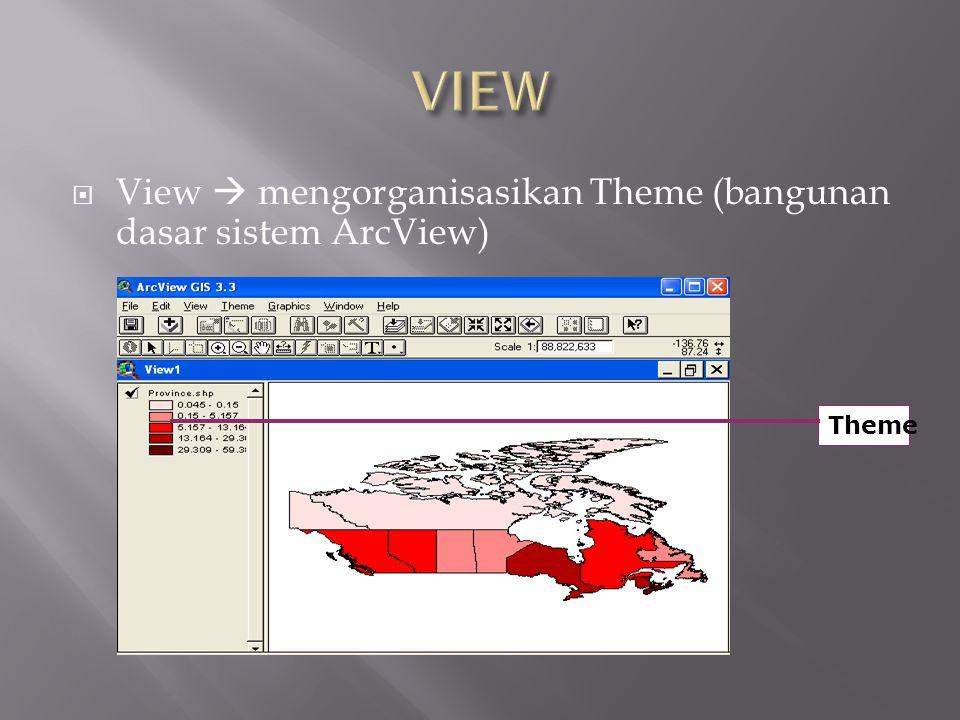 View  mengorganisasikan Theme (bangunan dasar sistem ArcView) Theme