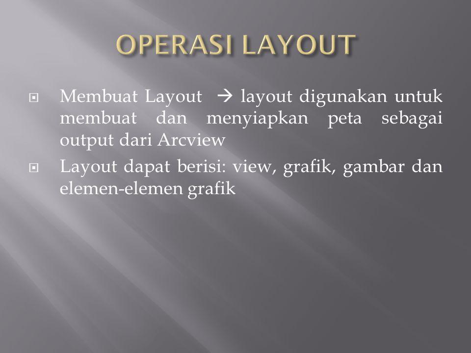  Membuat Layout  layout digunakan untuk membuat dan menyiapkan peta sebagai output dari Arcview  Layout dapat berisi: view, grafik, gambar dan elemen-elemen grafik