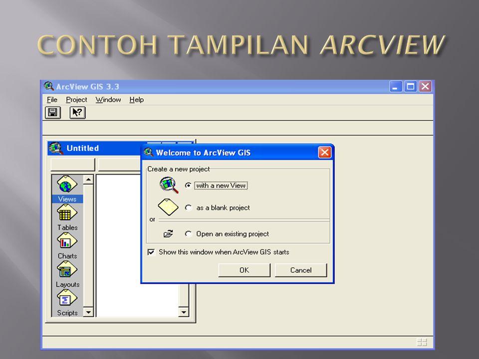  GUI dalam arcview merupakan struktur dokumen yang ada dalam arcview itu sendiri  GUI menentukan bagaimana elemen dalam arcview dioperasikan, kaitan di antara satu dokumen dengan dokumen lainnya