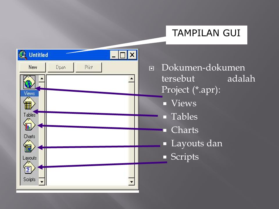 TAMPILAN GUI  Dokumen-dokumen tersebut adalah Project (*.apr):  Views  Tables  Charts  Layouts dan  Scripts