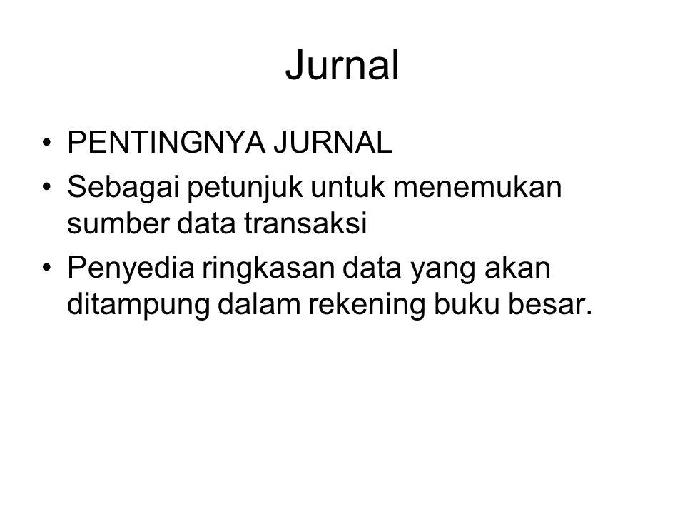 Jurnal PENTINGNYA JURNAL Sebagai petunjuk untuk menemukan sumber data transaksi Penyedia ringkasan data yang akan ditampung dalam rekening buku besar.