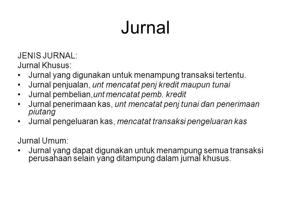 Jurnal JENIS JURNAL: Jurnal Khusus: Jurnal yang digunakan untuk menampung transaksi tertentu. Jurnal penjualan, unt mencatat penj kredit maupun tunai