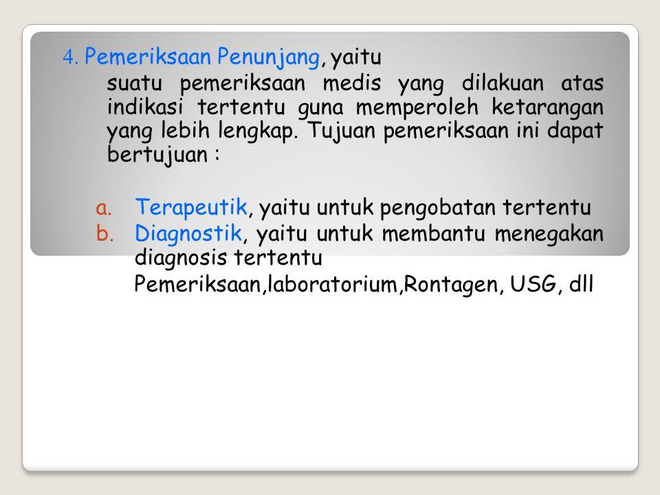 3. Pemeriksaan fisik, yaitu pengumpulan data dengan cara melakukan pemeriksaan kondisi fisik dari pasien. Pemeriksaan fisik meliputi : a. Inspeksi, ya