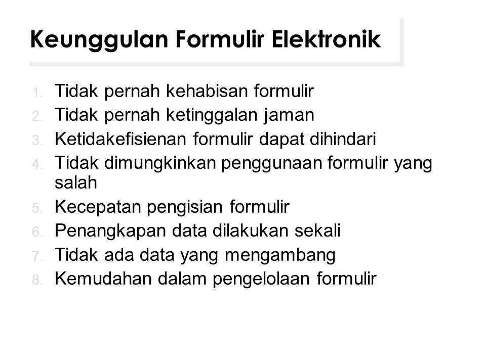 Keunggulan Formulir Elektronik 1. Tidak pernah kehabisan formulir 2. Tidak pernah ketinggalan jaman 3. Ketidakefisienan formulir dapat dihindari 4. Ti