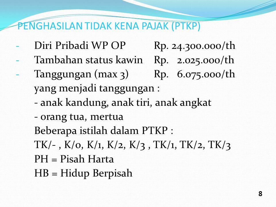 PENGHASILAN TIDAK KENA PAJAK (PTKP) - Diri Pribadi WP OPRp. 24.300.000/th - Tambahan status kawinRp. 2.025.000/th - Tanggungan (max 3)Rp. 6.075.000/th