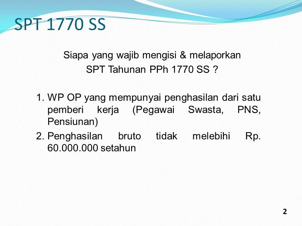 SPT 1770 S 3 Terdiri dari 1.Form 1770 S induk: penghitungan penghasilan netto dan PPh Kurang Bayar atau Lebih Bayar 2.Form 1770 S I: Bagian A: Rincian penghasilan DN lainnya Bagian B: Ph yang tidak termasuk objek pajak Bagian C: Daftar Pemotongan Pajak Penghasilan 3.Form 1770 S II: Bagian A: Penghasilan yang dikenakan PPh Final dan/atau bersifat final Bagian B: Daftar Harta Bagian C: Daftar Kewajiban