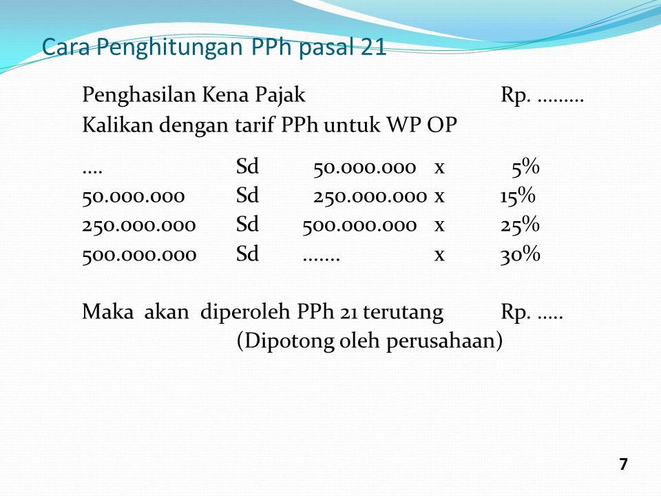 Cara Penghitungan PPh pasal 21 Penghasilan Kena PajakRp. ……… Kalikan dengan tarif PPh untuk WP OP ….Sd 50.000.000x 5% 50.000.000Sd 250.000.000x15% 250