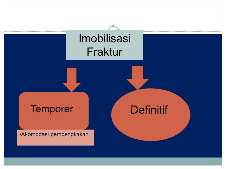 Imobilisasi Fraktur Definitif Temporer Akomodasi pembengkakan
