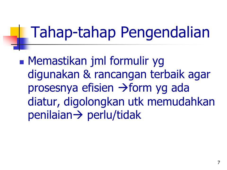 7 Tahap-tahap Pengendalian Memastikan jml formulir yg digunakan & rancangan terbaik agar prosesnya efisien  form yg ada diatur, digolongkan utk memud