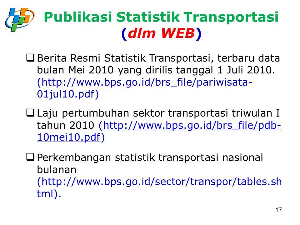 Publikasi Statistik Transportasi (dlm WEB)  Berita Resmi Statistik Transportasi, terbaru data bulan Mei 2010 yang dirilis tanggal 1 Juli 2010. (http: