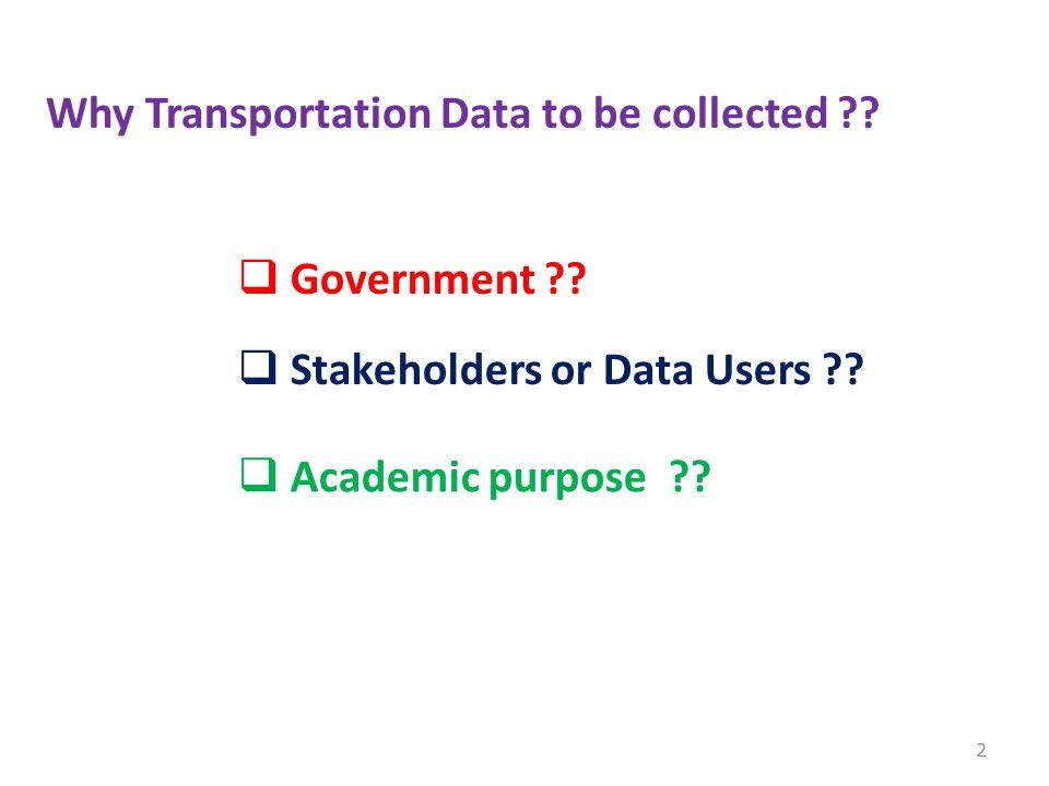 Arti dan Pentingnya Data Statistik Transportasi utk semua pengguna data  Pembangunan dan penyelenggaraan transportasi nasional hrs didukung oleh peningkatan kualitas administrasi negara di sektor transportasi.