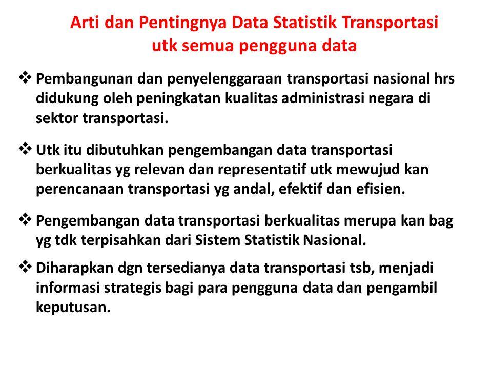 Arti dan Pentingnya Data Statistik Transportasi utk semua pengguna data  Pembangunan dan penyelenggaraan transportasi nasional hrs didukung oleh peni