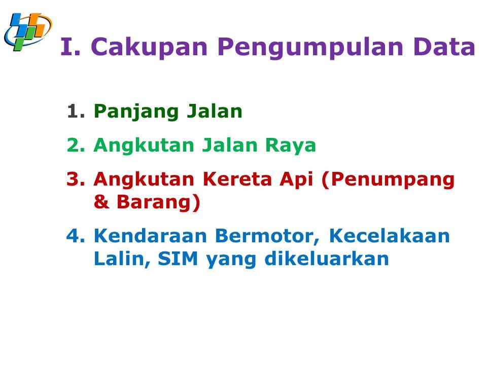 1.Panjang Jalan 2.Angkutan Jalan Raya 3.Angkutan Kereta Api (Penumpang & Barang) 4.Kendaraan Bermotor, Kecelakaan Lalin, SIM yang dikeluarkan I. Cakup