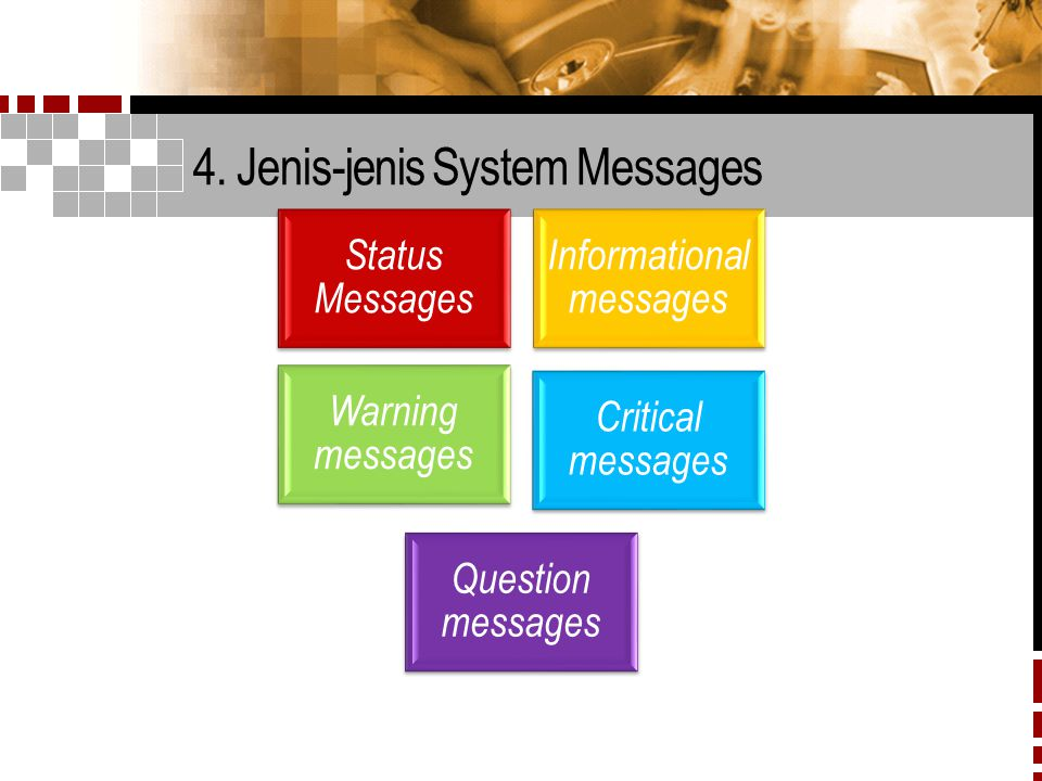 4. Jenis-jenis System Messages Status Messages Informational messages Warning messages Critical messages Question messages