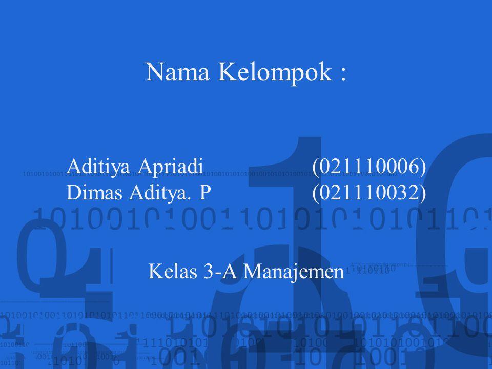 Nama Kelompok : Aditiya Apriadi(021110006) Dimas Aditya. P (021110032) Kelas 3-A Manajemen