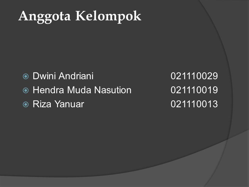 Anggota Kelompok  Dwini Andriani021110029  Hendra Muda Nasution021110019  Riza Yanuar021110013