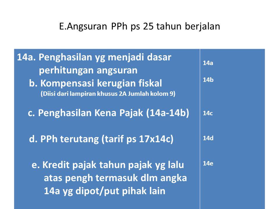 E.Angsuran PPh ps 25 tahun berjalan 14a.Penghasilan yg menjadi dasar perhitungan angsuran b.