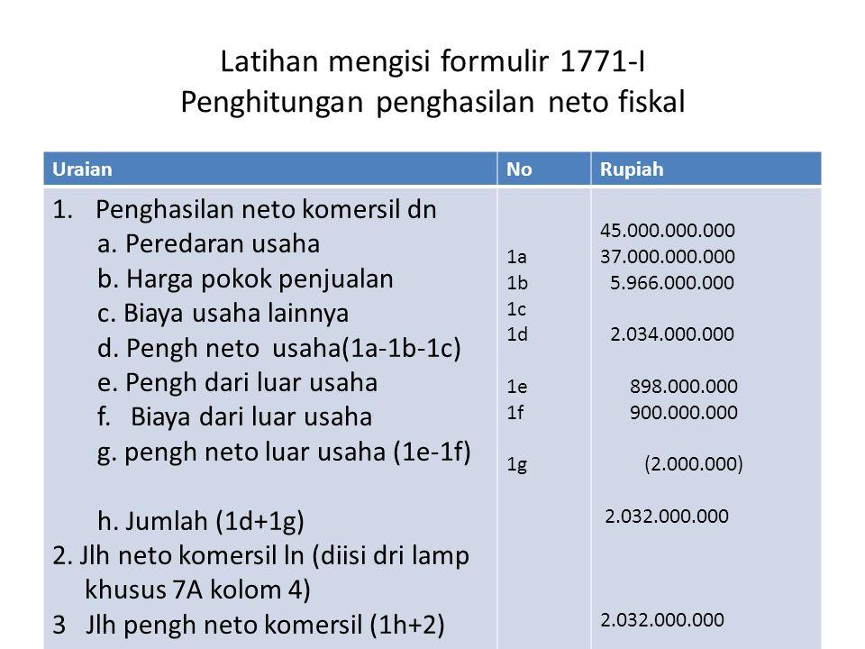 Latihan mengisi formulir 1771-I Penghitungan penghasilan neto fiskal UraianNoRupiah 1.Penghasilan neto komersil dn a.