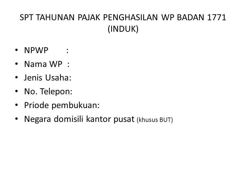 SPT TAHUNAN PAJAK PENGHASILAN WP BADAN 1771 (INDUK) NPWP : Nama WP : Jenis Usaha: No.