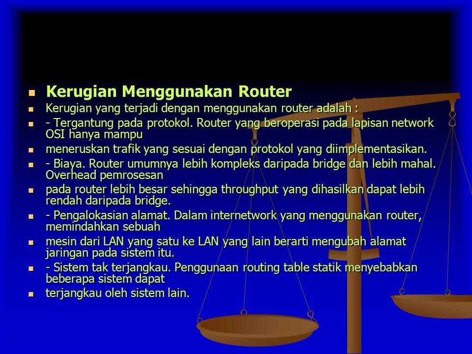 Kerugian Menggunakan Router Kerugian Menggunakan Router Kerugian yang terjadi dengan menggunakan router adalah : Kerugian yang terjadi dengan menggunakan router adalah : - Tergantung pada protokol.
