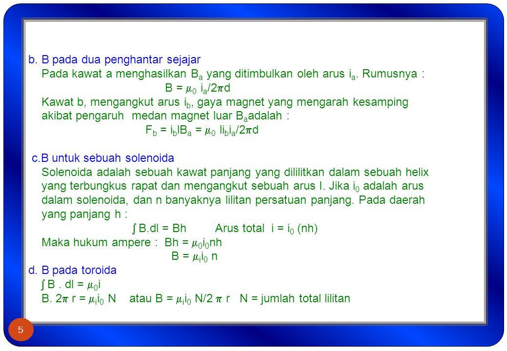 b. B pada dua penghantar sejajar Pada kawat a menghasilkan B a yang ditimbulkan oleh arus i a. Rumusnya : B =  0 i a /2  d Kawat b, mengangkut arus