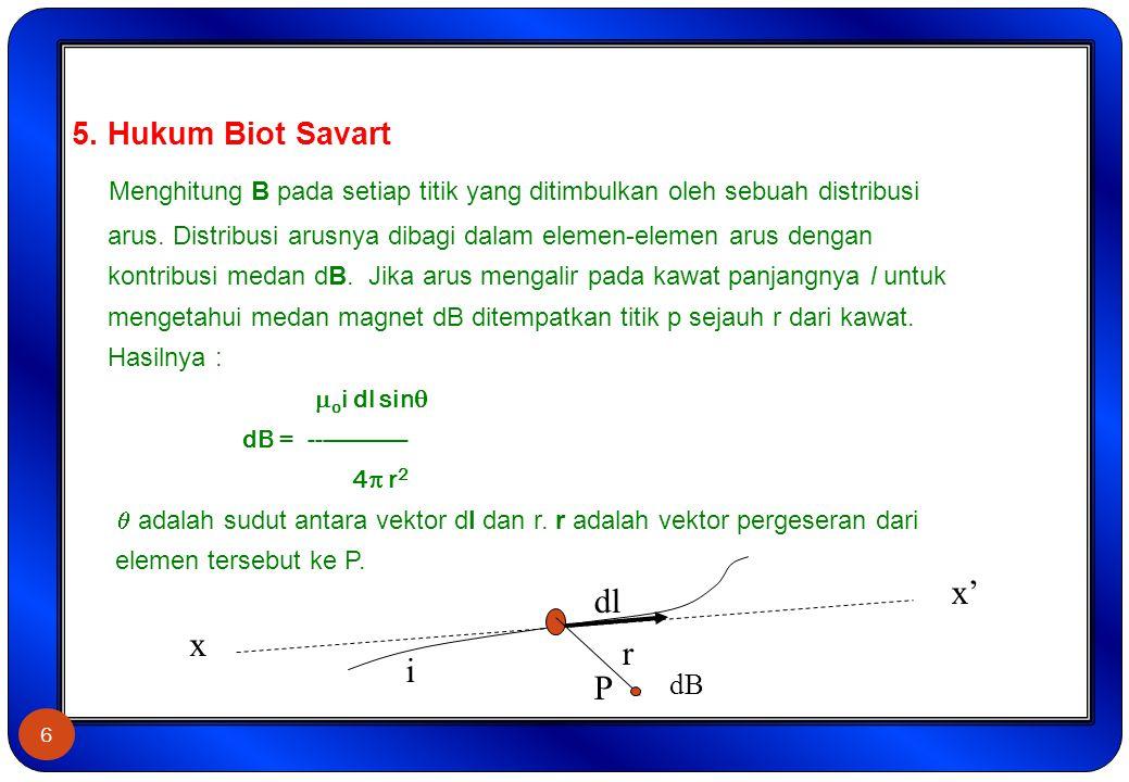 5. Hukum Biot Savart Menghitung B pada setiap titik yang ditimbulkan oleh sebuah distribusi arus. Distribusi arusnya dibagi dalam elemen-elemen arus d