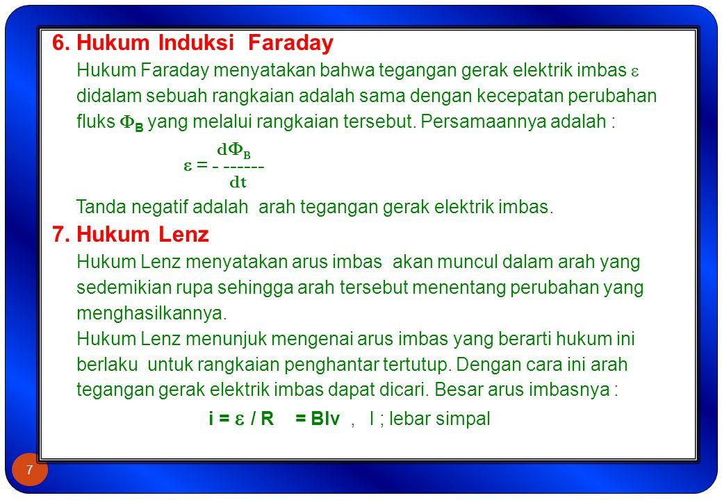 7 6. Hukum Induksi Faraday Hukum Faraday menyatakan bahwa tegangan gerak elektrik imbas  didalam sebuah rangkaian adalah sama dengan kecepatan peruba