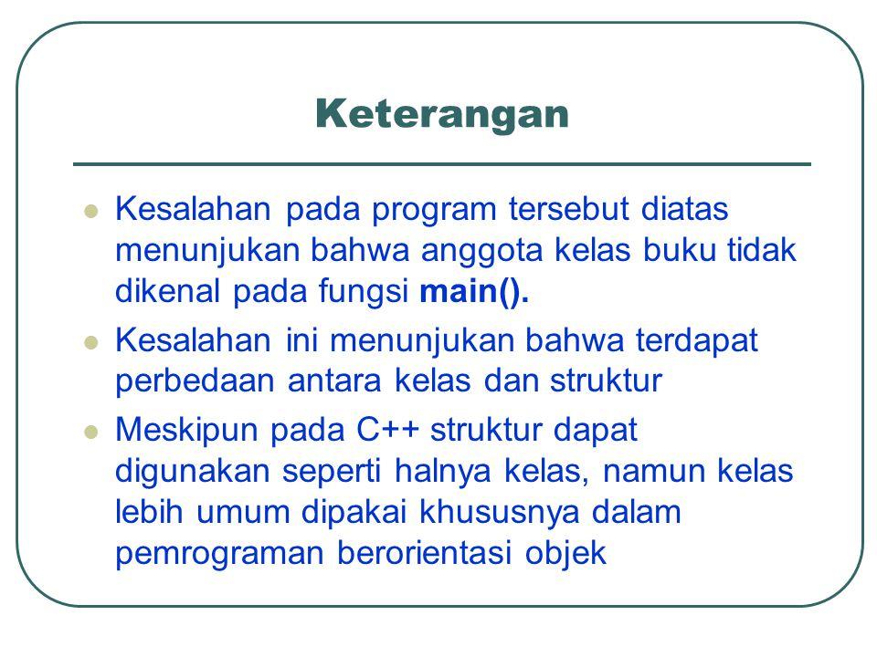 Keterangan Kesalahan pada program tersebut diatas menunjukan bahwa anggota kelas buku tidak dikenal pada fungsi main(). Kesalahan ini menunjukan bahwa