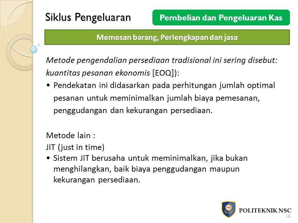 Siklus Pengeluaran POLITEKNIK NSC 16 Pembelian dan Pengeluaran Kas Memesan barang, Perlengkapan dan jasa Metode pengendalian persediaan tradisional in