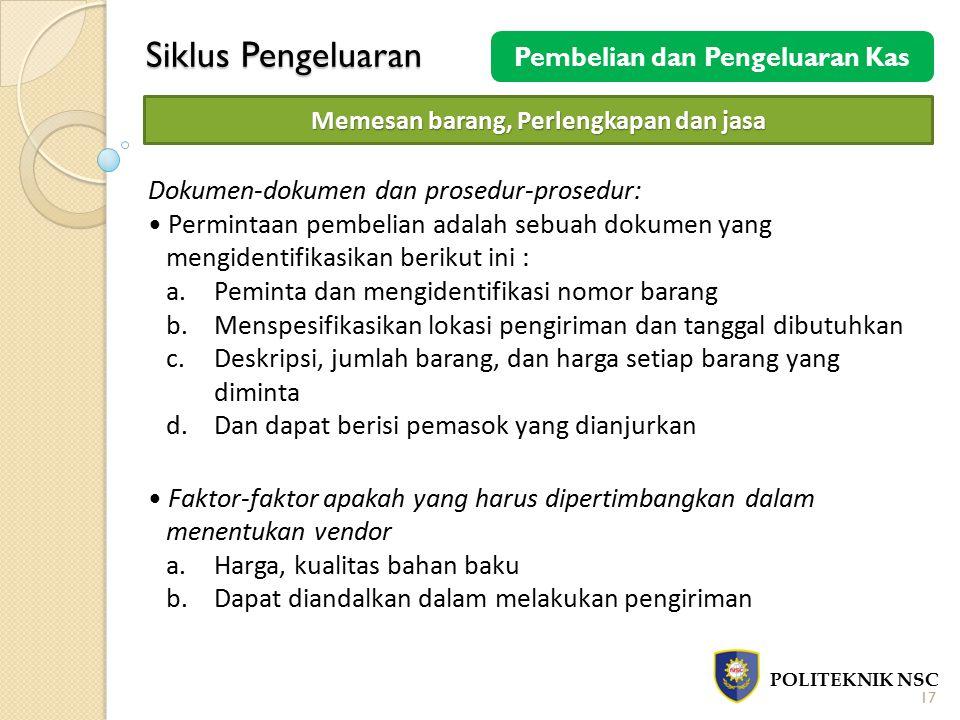Siklus Pengeluaran POLITEKNIK NSC 17 Pembelian dan Pengeluaran Kas Memesan barang, Perlengkapan dan jasa Dokumen-dokumen dan prosedur-prosedur: Permin