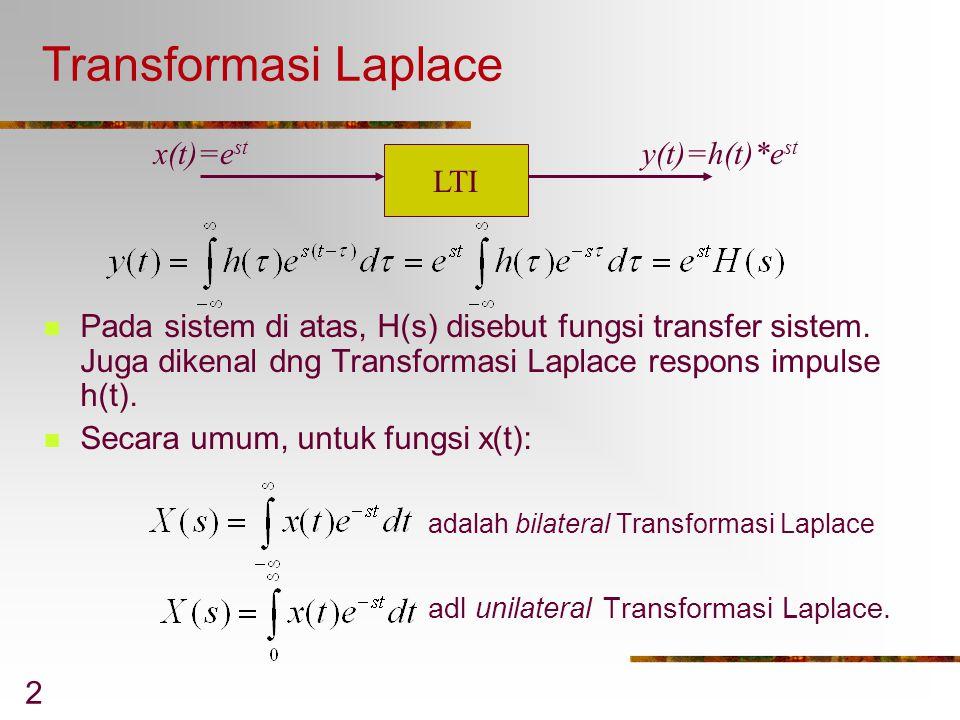2 Transformasi Laplace Pada sistem di atas, H(s) disebut fungsi transfer sistem. Juga dikenal dng Transformasi Laplace respons impulse h(t). Secara um