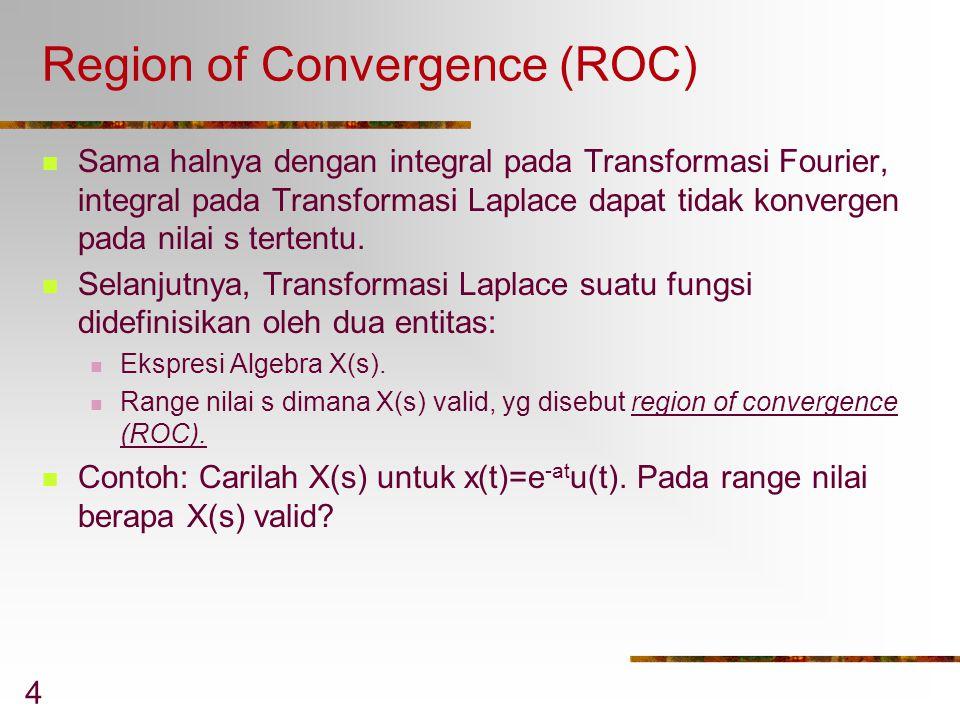 4 Region of Convergence (ROC) Sama halnya dengan integral pada Transformasi Fourier, integral pada Transformasi Laplace dapat tidak konvergen pada nil