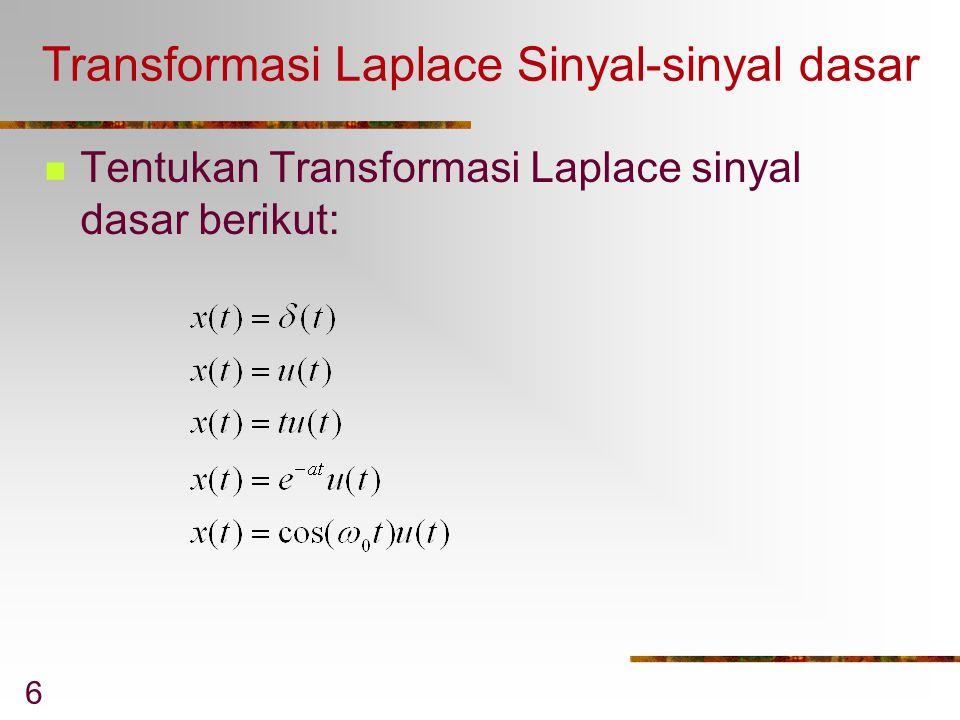 6 Transformasi Laplace Sinyal-sinyal dasar Tentukan Transformasi Laplace sinyal dasar berikut:
