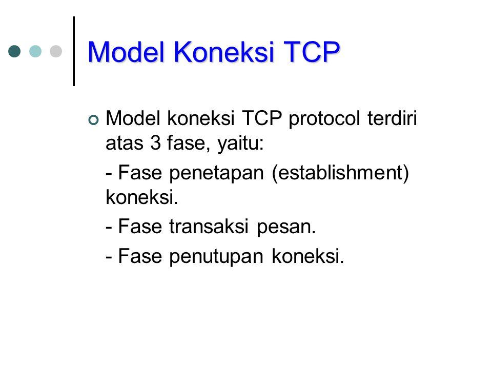 Model Koneksi TCP Model koneksi TCP protocol terdiri atas 3 fase, yaitu: - Fase penetapan (establishment) koneksi. - Fase transaksi pesan. - Fase penu