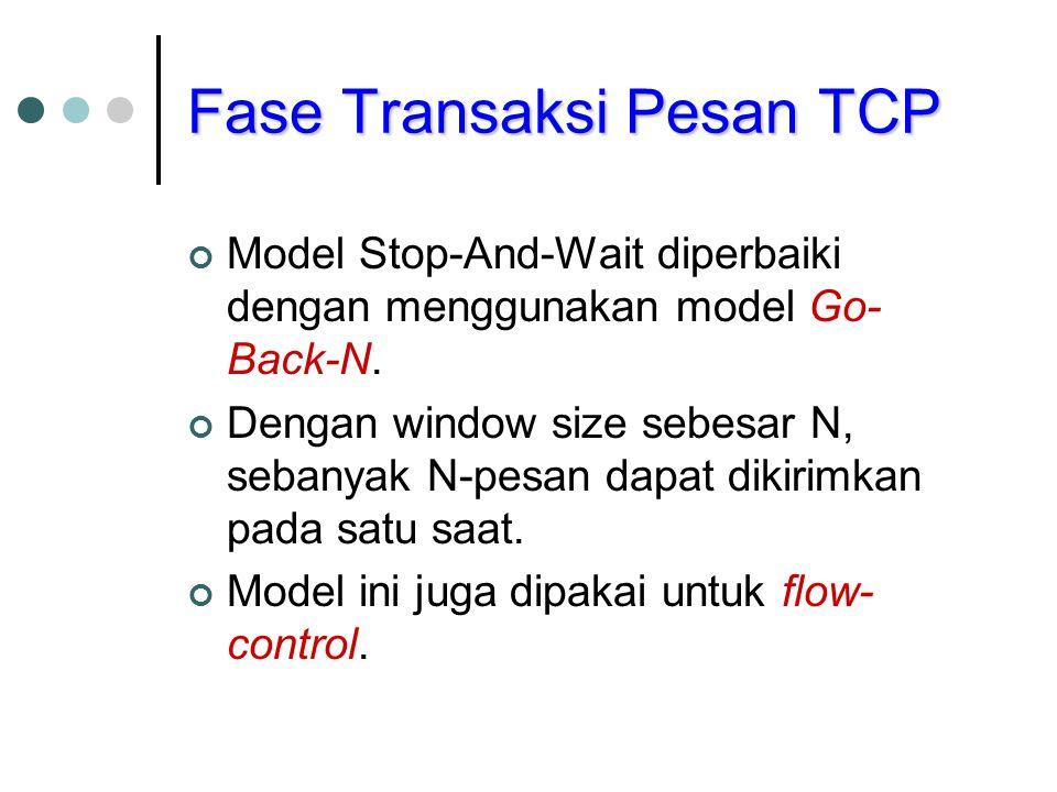Fase Transaksi Pesan TCP Model Stop-And-Wait diperbaiki dengan menggunakan model Go- Back-N. Dengan window size sebesar N, sebanyak N-pesan dapat diki