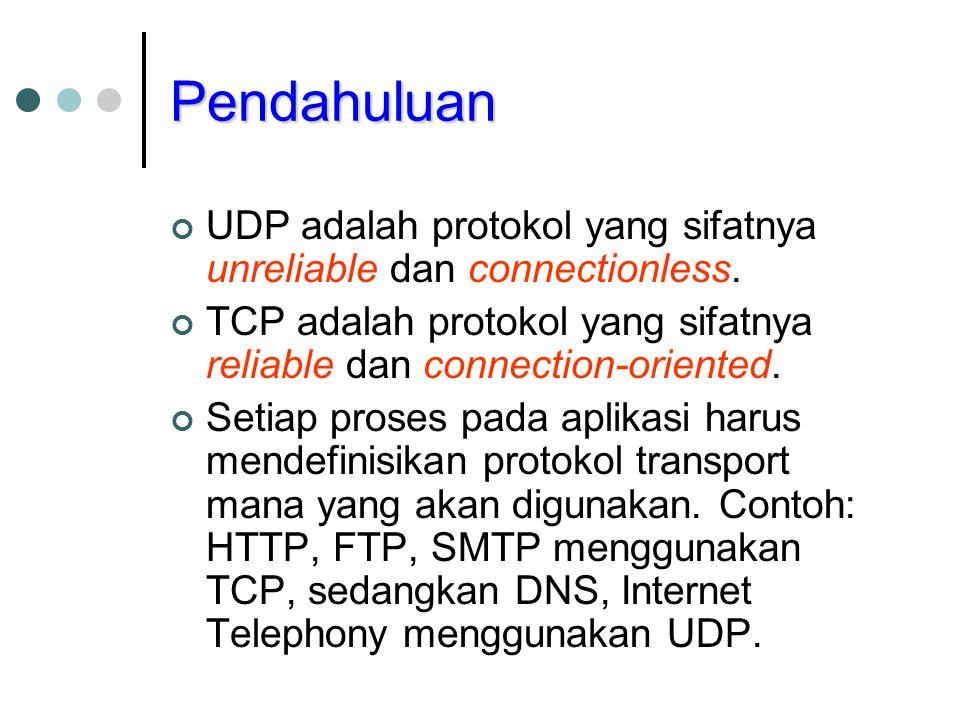 Pendahuluan UDP adalah protokol yang sifatnya unreliable dan connectionless. TCP adalah protokol yang sifatnya reliable dan connection-oriented. Setia