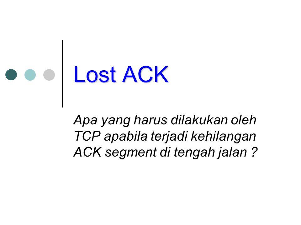 Lost ACK Apa yang harus dilakukan oleh TCP apabila terjadi kehilangan ACK segment di tengah jalan ?