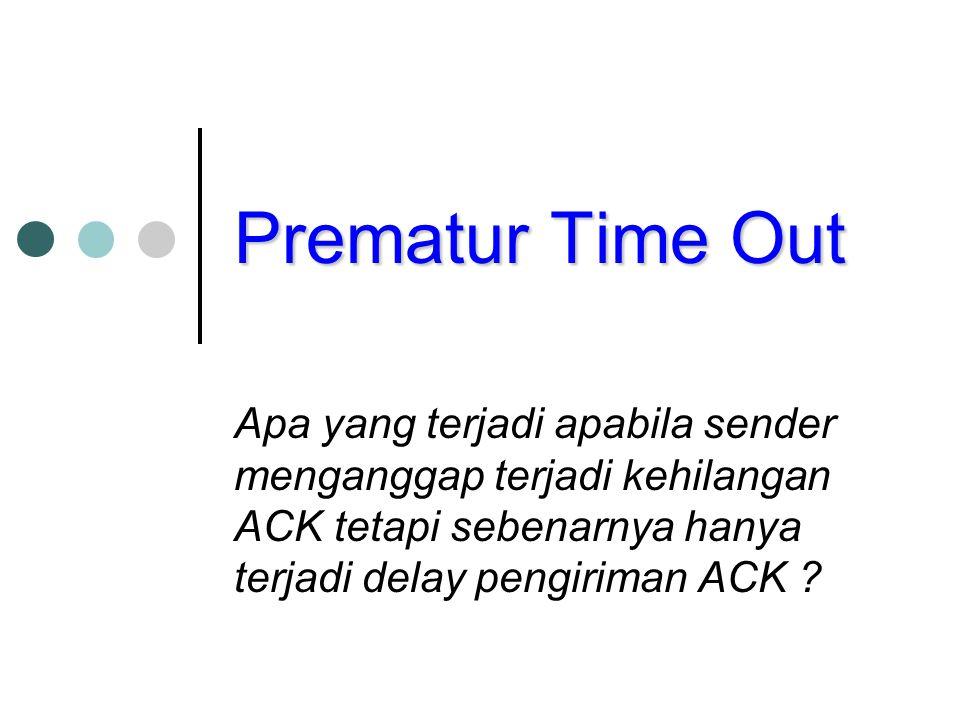Prematur Time Out Apa yang terjadi apabila sender menganggap terjadi kehilangan ACK tetapi sebenarnya hanya terjadi delay pengiriman ACK ?