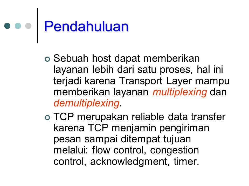 Pendahuluan Sebuah host dapat memberikan layanan lebih dari satu proses, hal ini terjadi karena Transport Layer mampu memberikan layanan multiplexing