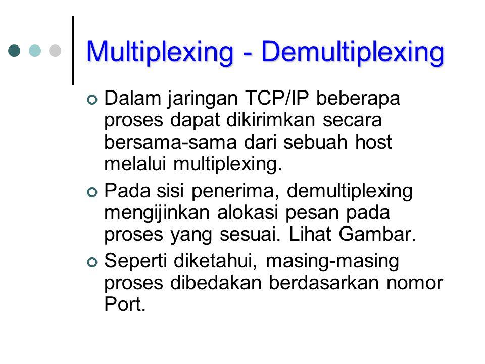 Multiplexing - Demultiplexing Dalam jaringan TCP/IP beberapa proses dapat dikirimkan secara bersama-sama dari sebuah host melalui multiplexing. Pada s