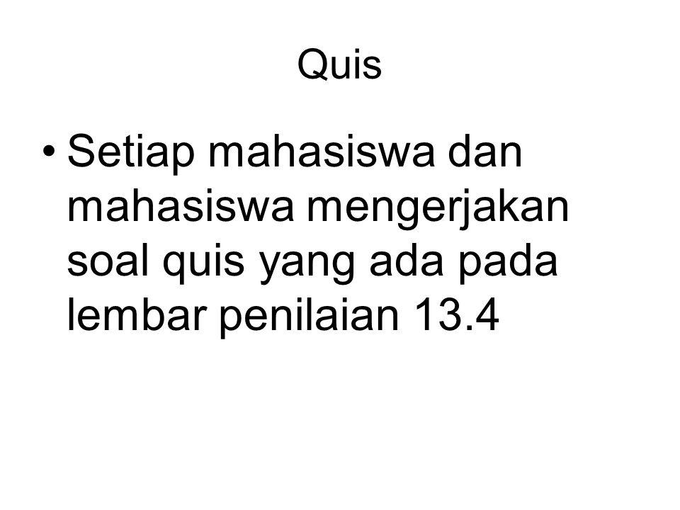 Quis Setiap mahasiswa dan mahasiswa mengerjakan soal quis yang ada pada lembar penilaian 13.4