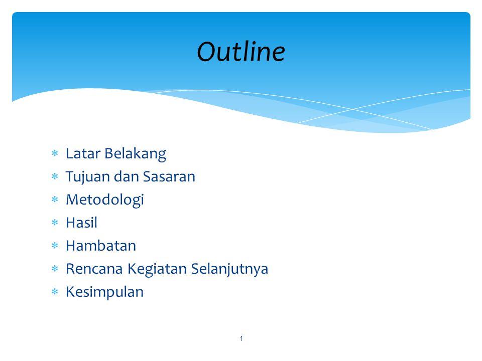  Latar Belakang  Tujuan dan Sasaran  Metodologi  Hasil  Hambatan  Rencana Kegiatan Selanjutnya  Kesimpulan Outline 1