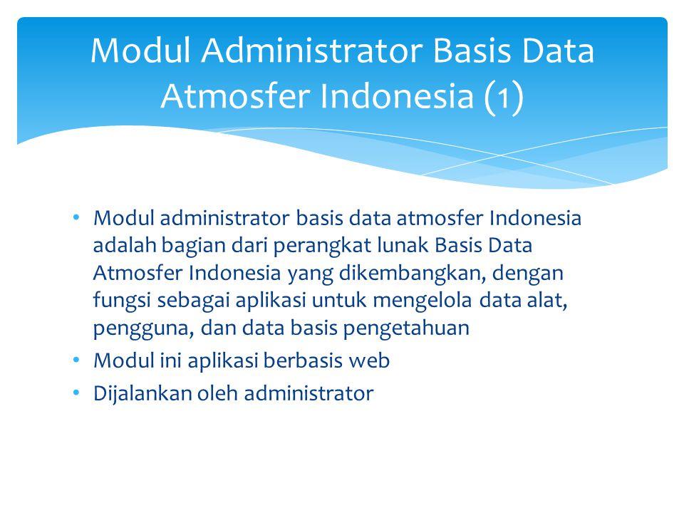 Modul Administrator Basis Data Atmosfer Indonesia (1) Modul administrator basis data atmosfer Indonesia adalah bagian dari perangkat lunak Basis Data