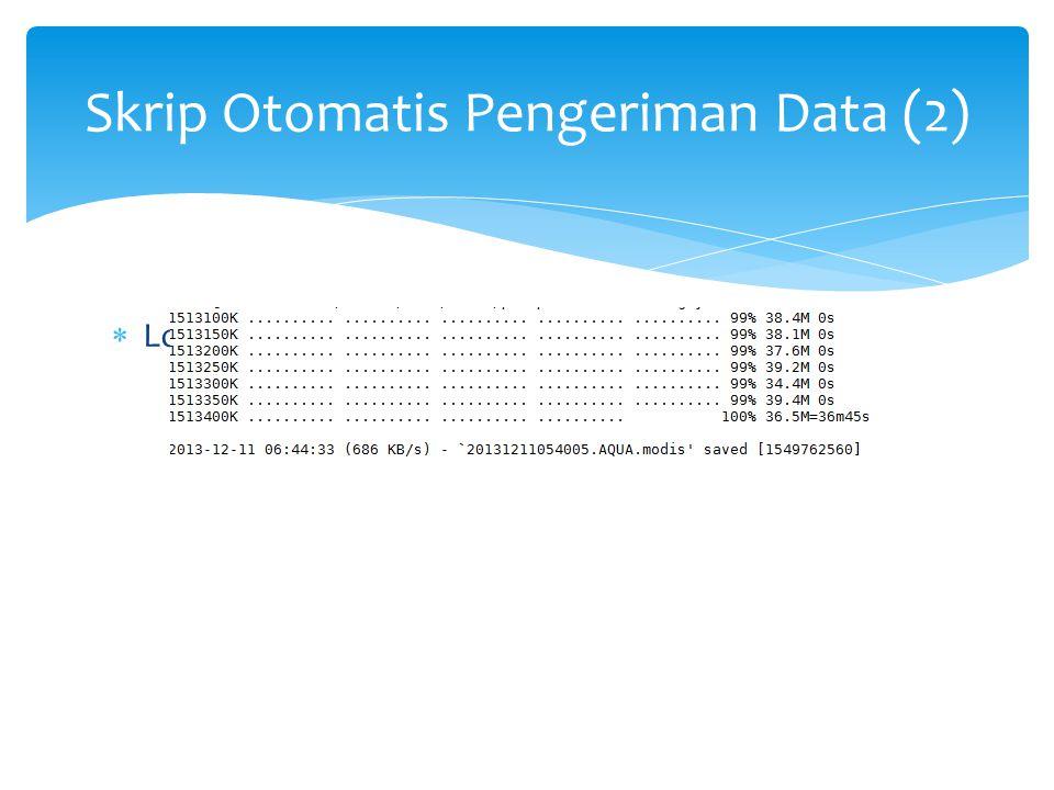 Skrip Otomatis Pengeriman Data (2)  Log pengiriman data modis Parepare
