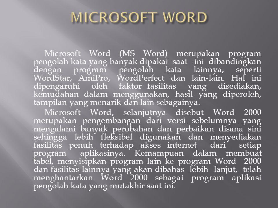 Microsoft Word (MS Word) merupakan program pengolah kata yang banyak dipakai saat ini dibandingkan dengan program pengolah kata lainnya, seperti WordStar, AmiPro, WordPerfect dan lain-lain.