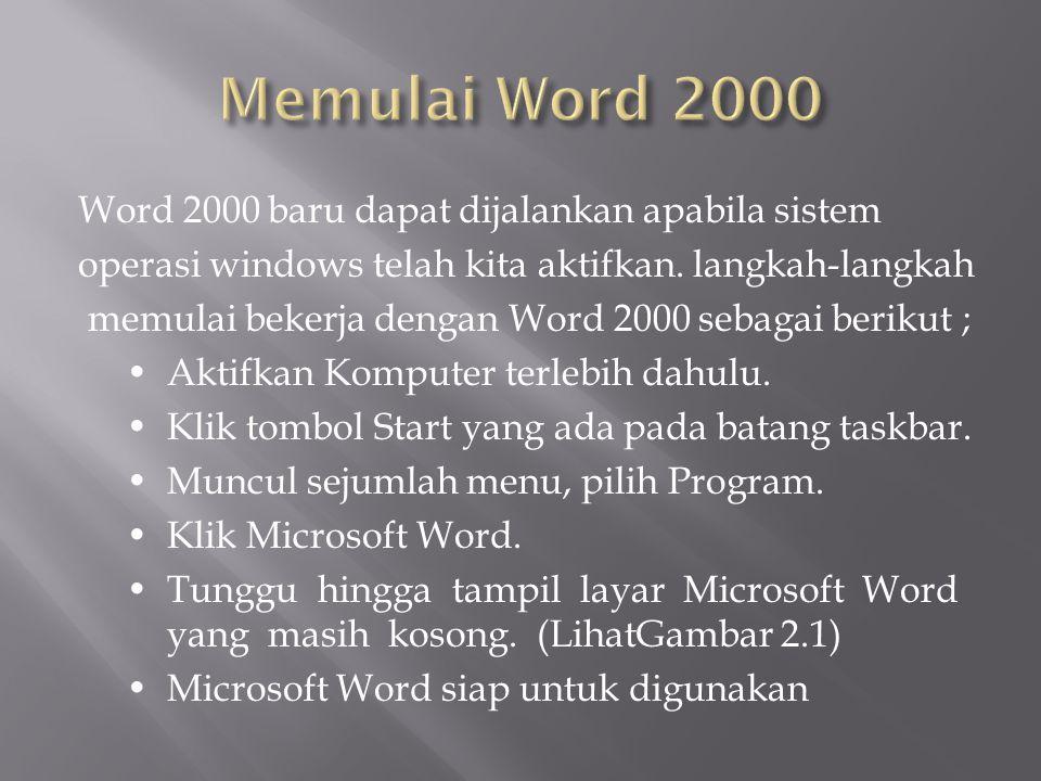 Word 2000 baru dapat dijalankan apabila sistem operasi windows telah kita aktifkan.